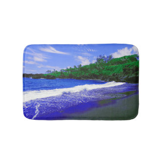Tropical Island Black Sandy Beach Bath Mat