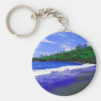 Tropical Island Black Sandy Beach Keychain