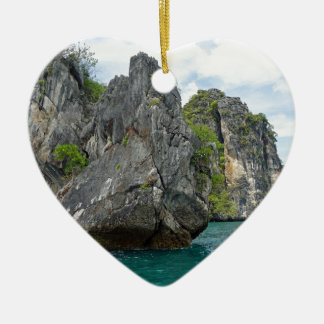 tropical island ceramic heart ornament