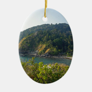 tropical island ceramic oval ornament