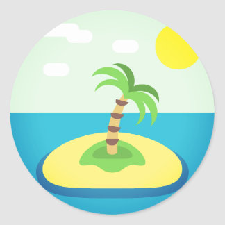 Tropical Island Emoji Classic Round Sticker