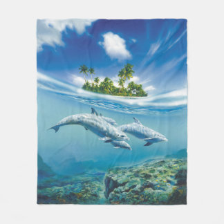 Tropical Island Fantasy Fleece Blanket