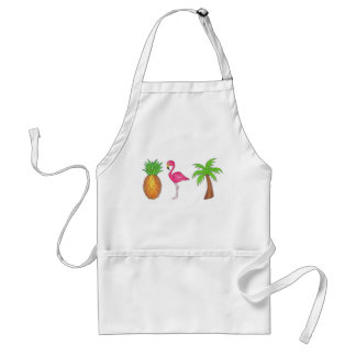 Tropical Island Flamingo Palm Tree Pineapple Apron