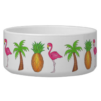 Tropical Island Flamingo Pineapple Pet Dog Bowl