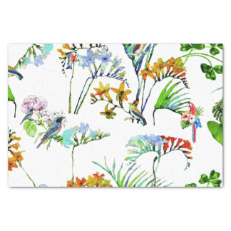 Tropical Island Flowers & Birds Tissue Paper