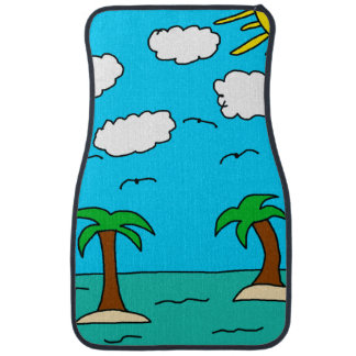 Tropical Island Front Car Mats