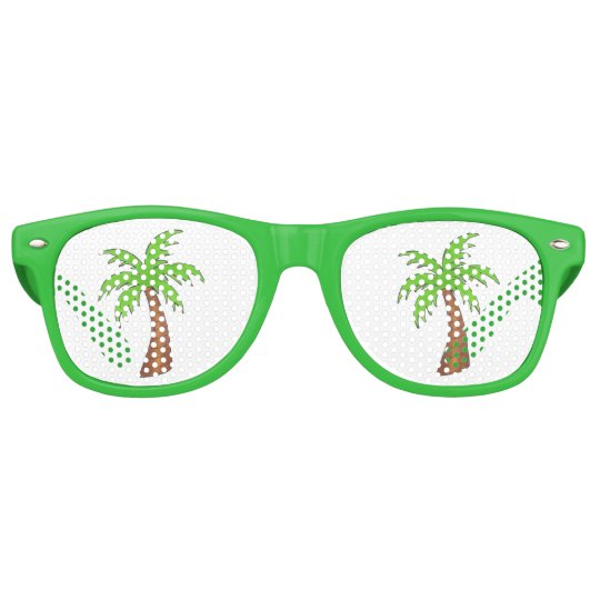 Tropical Island Green Palm Tree Sunglasses