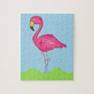 Tropical Island Hot Pink Flamingo Bird Animal Jigsaw Puzzle