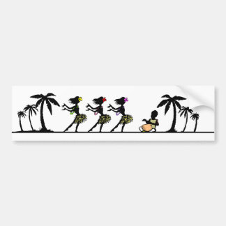 Tropical Island Hula Dancers Bumper Sticker