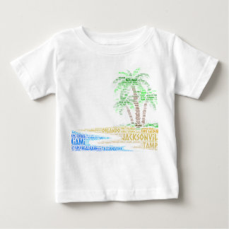 Tropical Island illustrated with cities of Florida Baby T-Shirt