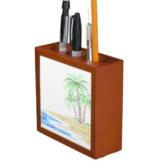 Tropical Island illustrated with cities of Florida Desk Organizer