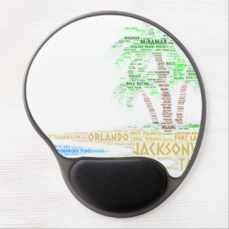 Tropical Island illustrated with cities of Florida Gel Mouse Pad