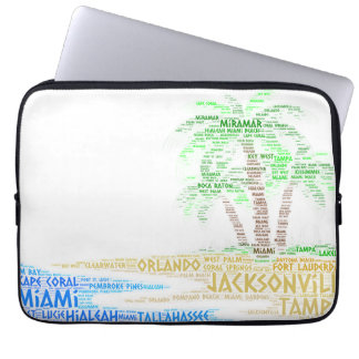Tropical Island illustrated with cities of Florida Laptop Sleeve