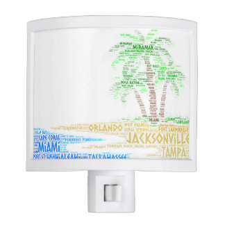 Tropical Island illustrated with cities of Florida Nite Light