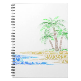 Tropical Island illustrated with cities of Florida Notebook
