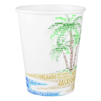 Tropical Island illustrated with cities of Florida Paper Cup