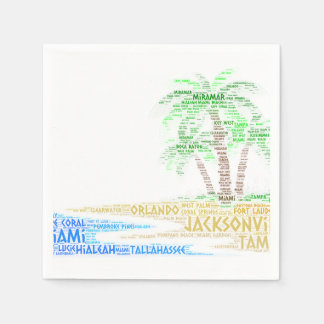 Tropical Island illustrated with cities of Florida Paper Napkin