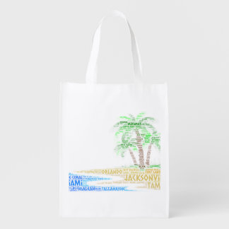Tropical Island illustrated with cities of Florida Reusable Grocery Bag