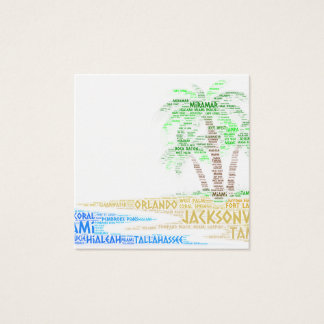 Tropical Island illustrated with cities of Florida Square Business Card
