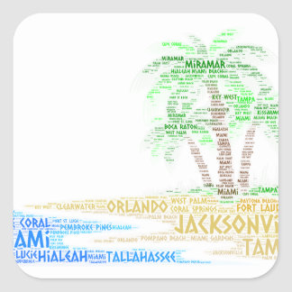 Tropical Island illustrated with cities of Florida Square Sticker