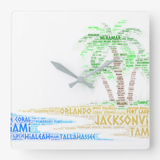 Tropical Island illustrated with cities of Florida Square Wall Clock