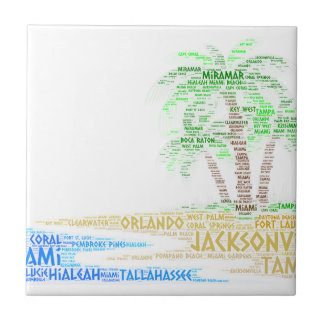 Tropical Island illustrated with cities of Florida Tile
