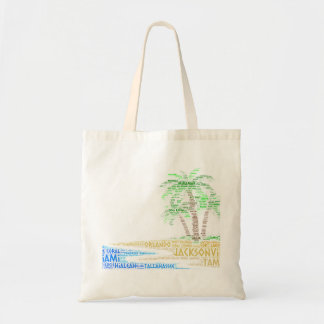 Tropical Island illustrated with cities of Florida Tote Bag