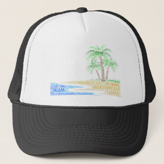 Tropical Island illustrated with cities of Florida Trucker Hat