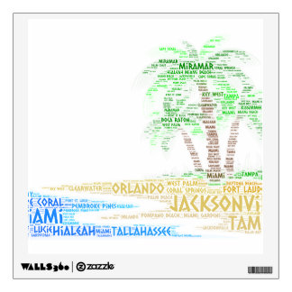 Tropical Island illustrated with cities of Florida Wall Sticker