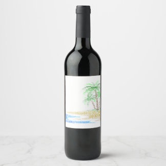 Tropical Island illustrated with cities of Florida Wine Label