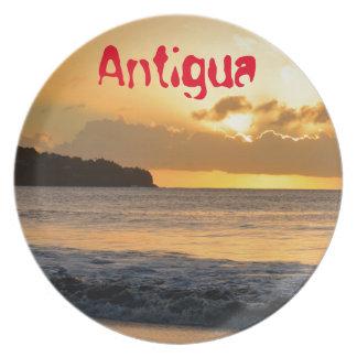 Tropical island in Antigua Plates