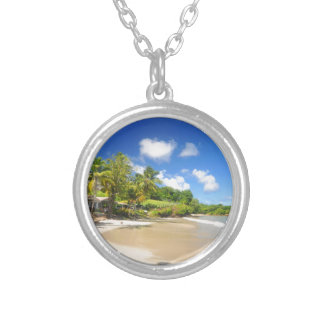 Tropical island in Cayman Islands Silver Plated Necklace
