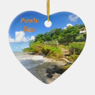 Tropical island in Puerto Rico Ceramic Heart Ornament