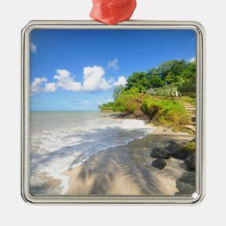 Tropical island in Puerto Rico Silver-Colored Square Ornament