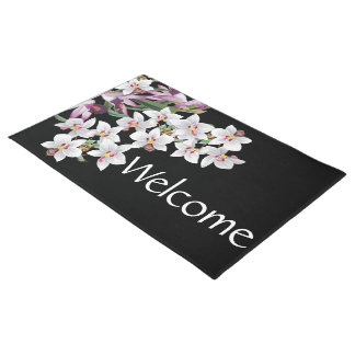 Tropical Island Orchid Flowers Floral Doormat