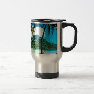 Tropical Island Otemanu Peak French Polynesia Travel Mug