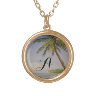 Tropical Island Palm Tree Monogram Letter Initial Gold Plated Necklace