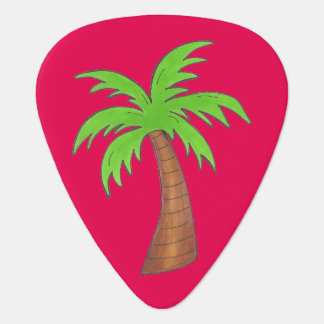 Tropical Island Palm Tree Trees Hot Pink Green Guitar Pick