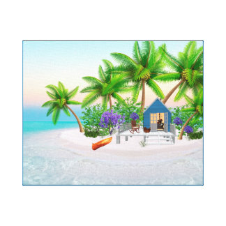 TROPICAL ISLAND PARADISE CANVAS ART