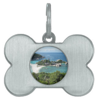 Tropical island pet name tag