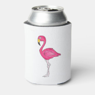 Tropical Island Pink Flamingo Bird Can Cooler