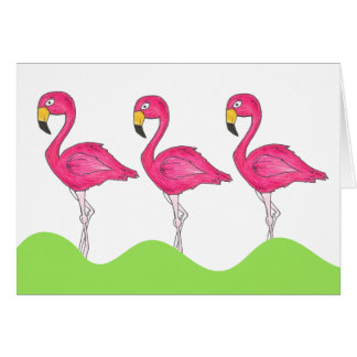 Tropical Island Pink Flamingos Bird Greeting Card