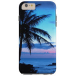 Tropical Island Pretty Pink Blue Sunset Landscape Tough iPhone 6 Plus Case