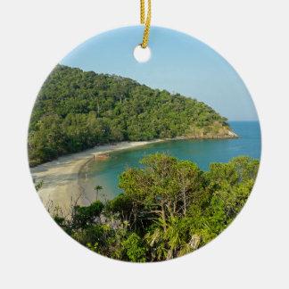 tropical island round ceramic ornament