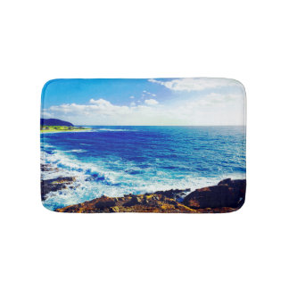 Tropical Island Shore Waves Bath Mat