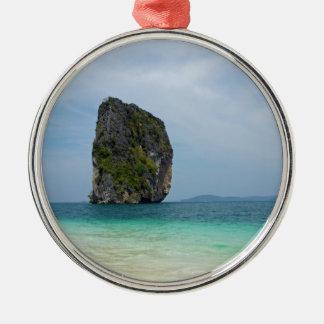 tropical island Silver-Colored round ornament