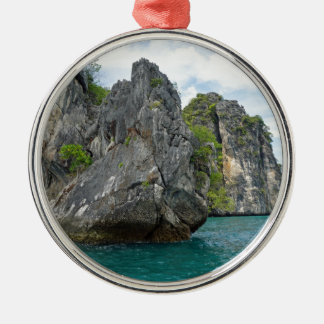 tropical island Silver-Colored round ornament
