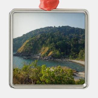 tropical island Silver-Colored square ornament