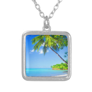 Tropical island silver plated necklace