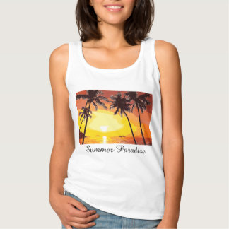 Tropical Island Summer Paradise Sunset Palm Trees Spaghetti Strap Tank Top
